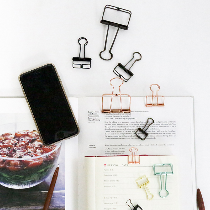 1 Pcs Cute Kawaii Photo Decorative Metal Quality Binder Paper Clips Desk Office Accessories School Supplies Gold Black Rose