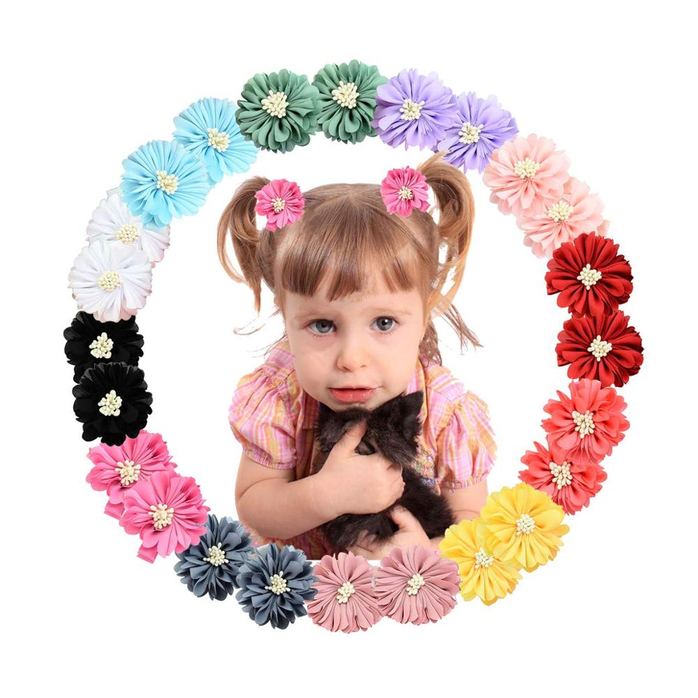 20 Colors Baby Girl Chiffon Flowers Lined Hair Bows Clips for Teens Girls Babies