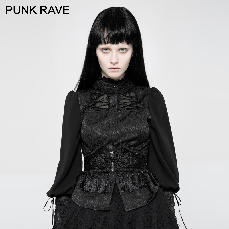 PUNK RAVE Gothic Female Tassel Lace Palaces Pattern Girdle Personalities Can Adjustable Rope Strap Design Jacquard  Women Corset