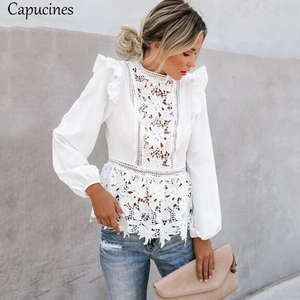Image 3 - Capucines Lace Splicing Ruffled High Waist White Shirts Blouse Women Hollow Out Embroidery Keyhole Back Elegant Summer Chic Tops