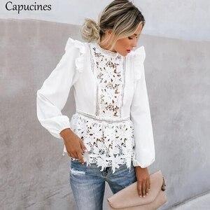 Image 3 - Capucines Spitze Spleißen Rüschen Hohe Taille Weiß Shirts Bluse Frauen Aushöhlen Stickerei Keyhole Zurück Elegante Sommer Chic Tops