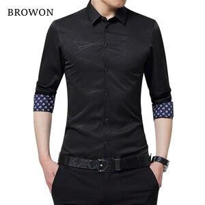 Image 4 - BROWON lüks marka erkek elbise gömlek erkekler gömlek uzun kollu geometrik baskı sosyal gömlek yakışıklı moda bluz adam için