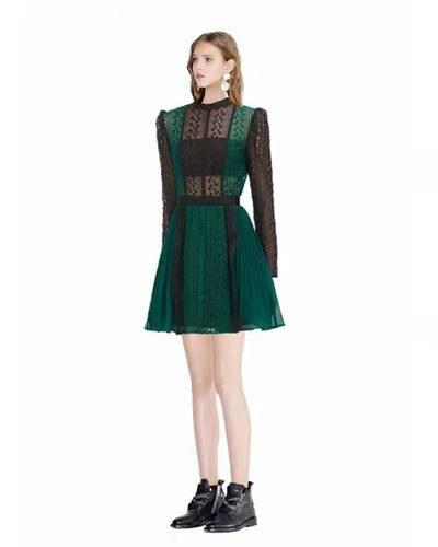 Aihuyigui 2019 autoportrait 23 saison haute qualité piste de luxe dentelle robe femmes Patchwork vert Mini dentelle robe Mujer Dr792