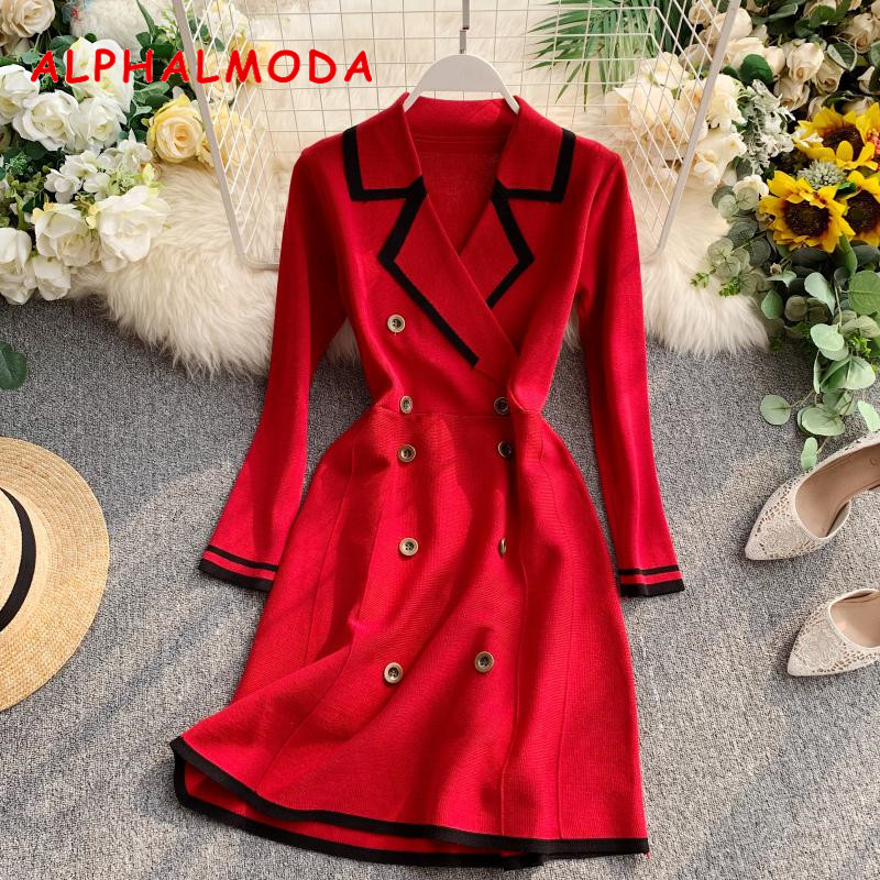 ALPHALMODA Retro Autumn Dress 2019 New Lapel Collar Long-sleeved Dress Double-row Button-down Slim OL Casual Knit Dress 35