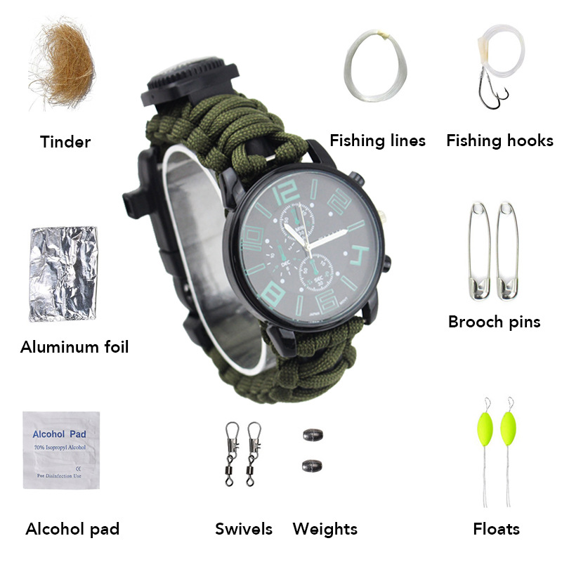 Multi-functional Outdoor Hiking Camping First Aid Fashion Waterproof Firestone Whistle Buckle Toolkit Watch