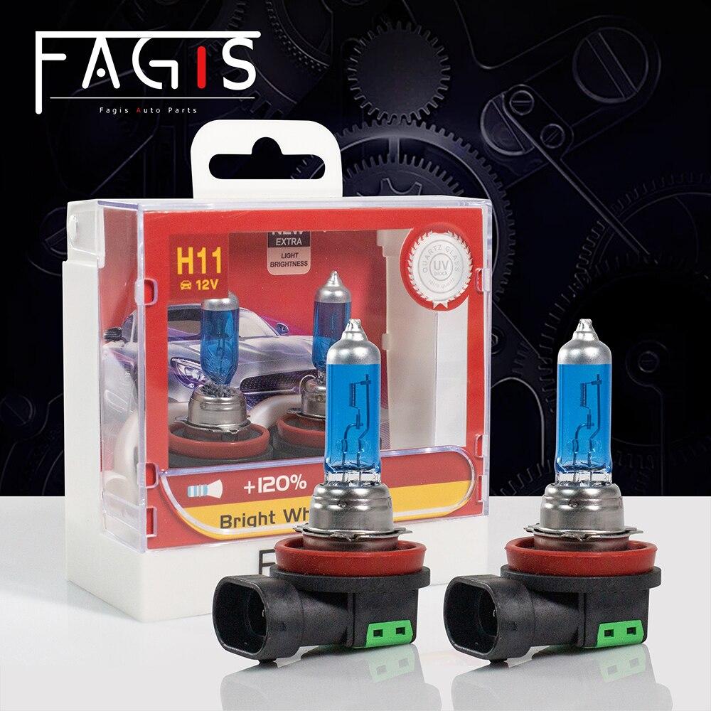 Fagis 2 uds H8 H9 H11 55W 12V bombillas halógenas súper blancas luces antiniebla automáticas 4800K lámpara para luces de automóvil de calidad Original