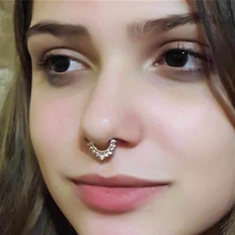 1pcs Boho Stainless Steel Zircon Nose Ring Clip On Fake Septum