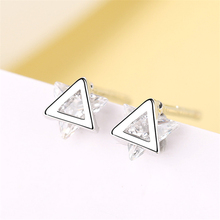 Simple Trendy Triangle Crystal Womens fashion 2019 925 Real Sliver Push Back Small Mini Summer Whole Sale Studs For Women G751
