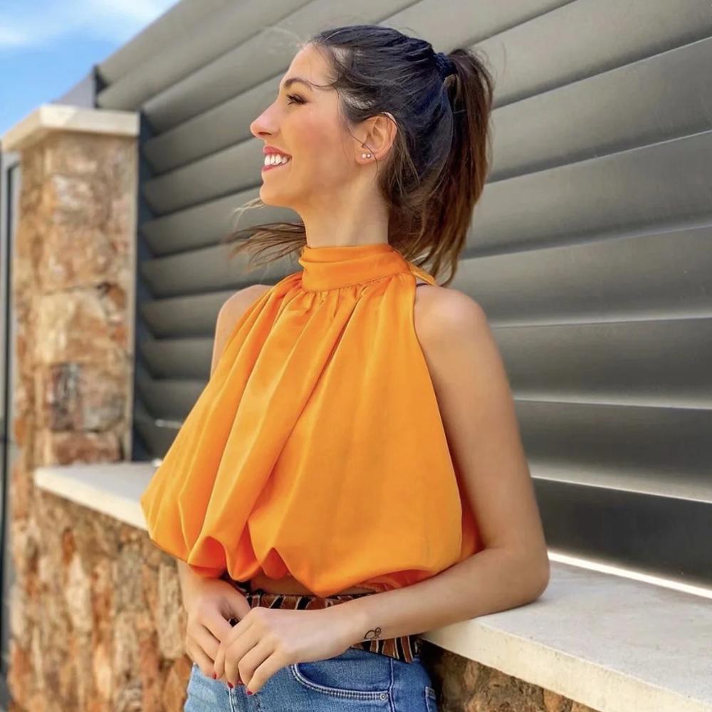 Klacwaya Top Women 2021 Sexy Blouses Orange Crop Ladies Shirts Halter Sleeveless Girl Summer Blusas Clothing Female Chic Tops