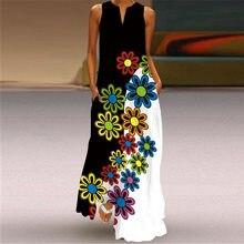 MOVOKAKA Robe De Plage D'été 2021 Décontracté Grande Taille Noir Blanc Imprimé Floral Robes Longues Femme Sans Manches Filles Robe Maxi Femmes