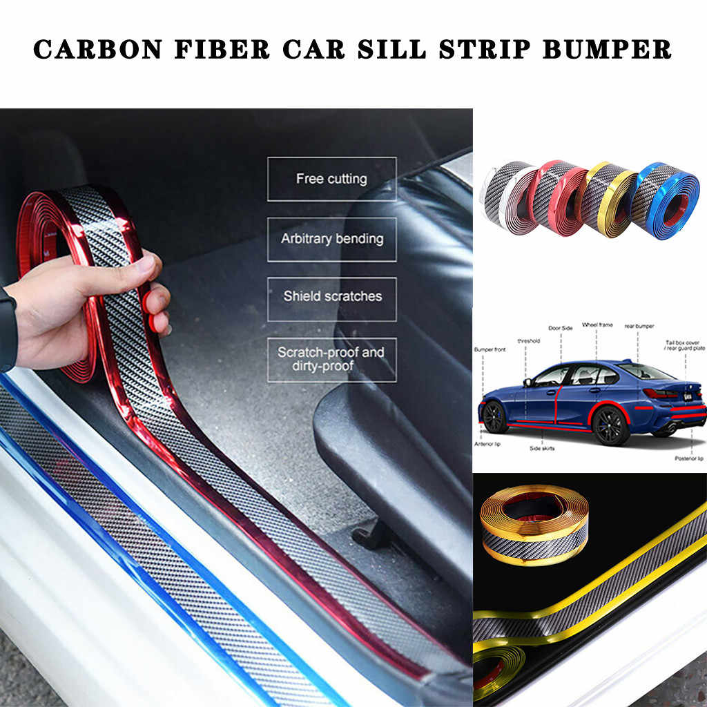 7 Cm * 1 M Carbon Fiber Rubber Moulding Strip Zachte Trim Bumper Strip Diy Instaplijsten Protector Edge Guard auto Stickers Auto Styling # P25