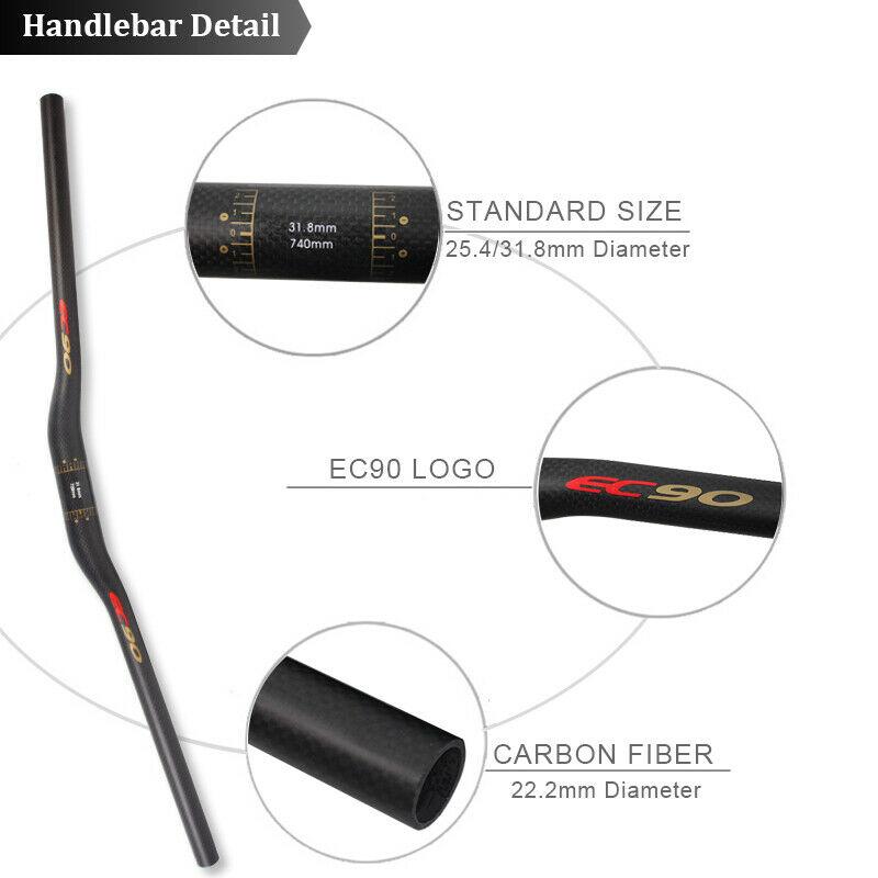 Carbon Bicycle Handlebar 25.4//31.8mm 660-760mm MTB//Road Bike AL Adjustment Stem