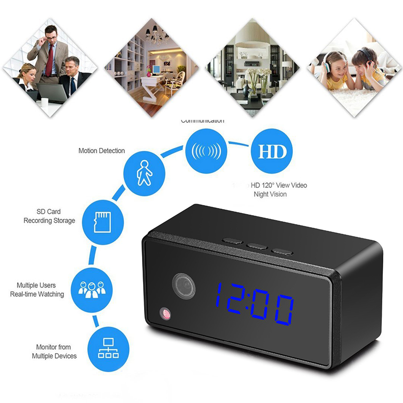Table Clock <font><b>Mini</b></font> <font><b>Camera</b></font> H.264 WiFi 720P HD IP P2P DVR Camcorder Alarm Set Night Vision Motion Sensor Remote Monitor Micro <font><b>Camera</b></font> image