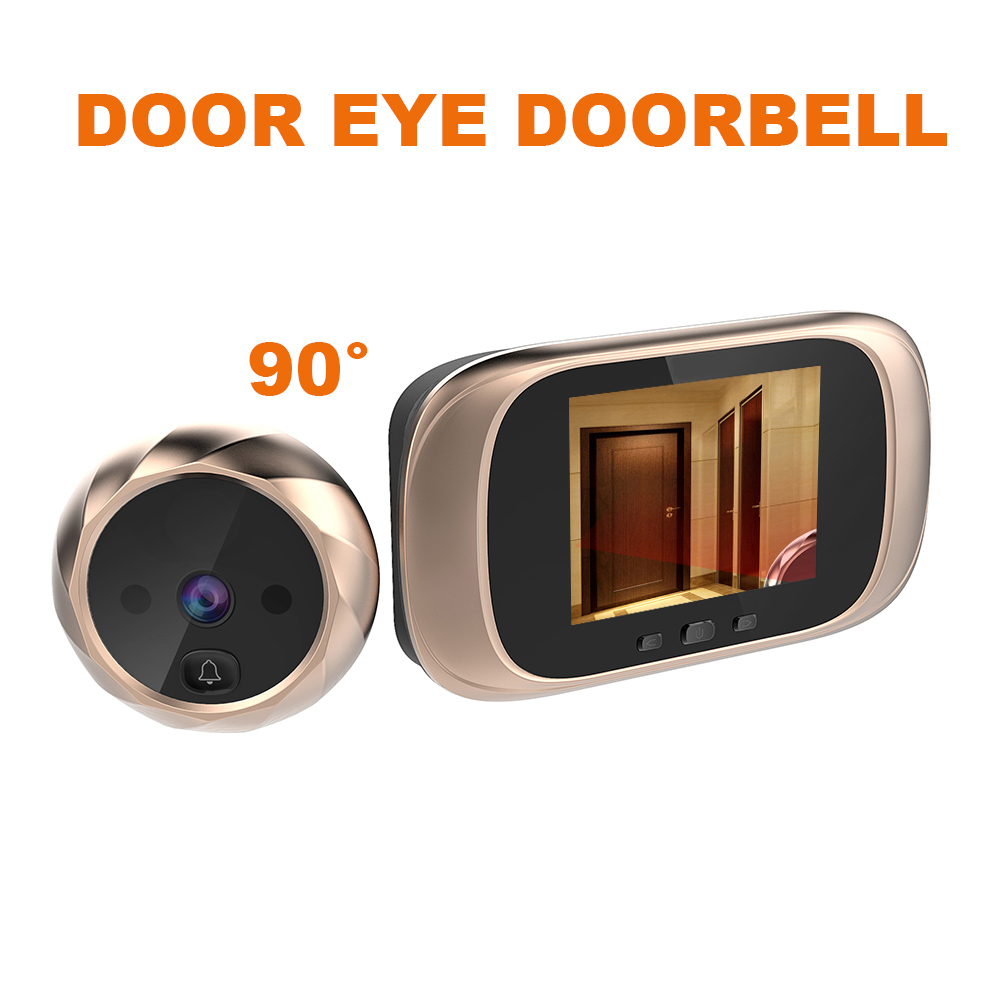 Electronic Peephole Door Camera Viewer Outdoor Door Bell 2.8 Inch Color Screen Doorbell 90 Degree Door Eye Doorbell Golden