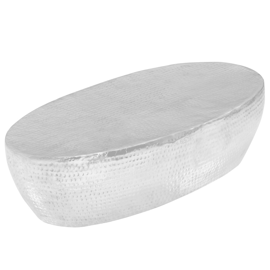 VidaXL Coffee Table Hammered Silver 100x50x28 Cm Aluminium 246506