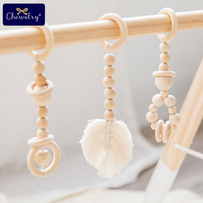 1Set Baby Teether Play Gym Toy Wood Bed Bell Tassel Leaves Wooden Rings Rodents Shape Knitting Soft Baby Bed Hanging Rattles Toy