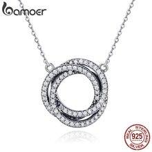 BAMOER prawdziwe 925 srebro minimalizm eleganckie okrągłe koło wyczyść CZ wisiorek naszyjniki kobiety srebro biżuteria SCN259