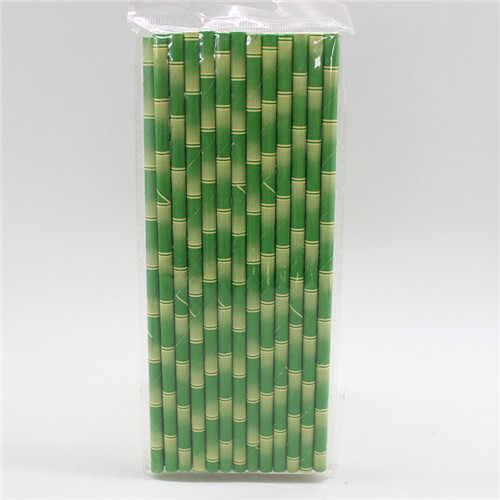 25 unidades/pacote Eco Verde Canudos De Papel De Bambu Panda Decoração Fontes do Evento da Festa de Casamento Do Chuveiro de Bebê do Aniversário Dos Miúdos