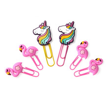 8pcs/4pcs Soft Plastic Metal Bookmark Holder Flamingo Paper Clip Unicorn Office Stationery Gift Cute Note Clips