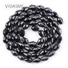Black Faceted Waterdrop Austrian Crystal Beads For Jewelry Making 11*8mm Teardrop Glass Diy Bracelet Pendant Accessories