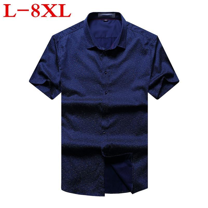 Big Size 8XL 7XL 6XL 5XL Men Shirt Shirt  NEW Blouse Men Camisa Masculina Short Sleeves Shirt Brand-clothing Casual Shirts