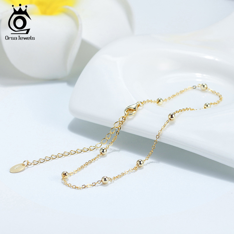 ORSA JEWELS Beads Adjustable Anklets Bracelet 100% 925 Silver Gold Silver Color Girl Women Barefoot Ankle Jewelry Gift SA05