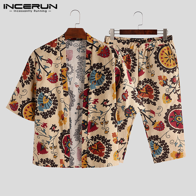 INCERUN Ethnic Style Printed Men Sets Cotton Half Sleeve Outerwear Shirt Vintage Loose Pants Streetwear Casual Men 2 Pieces Sets