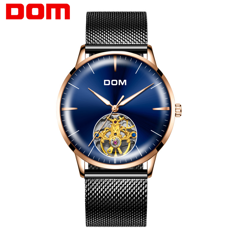 DOM Watch Men Automatic Self-Wind Stainless Steel Luxury Brand 3ATM Waterproof Fully Automatic Mechanical Watch Male watch gold