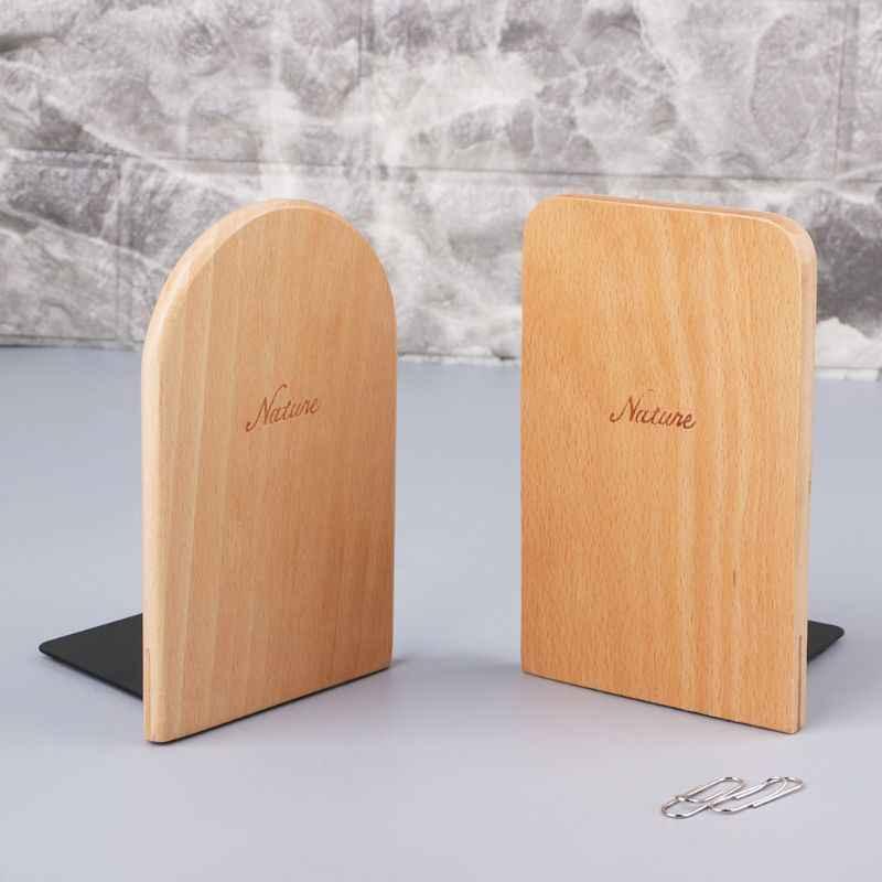 الطبيعة خشبية منظم سطح المكتب سطح المكتب المنزل الدفتين المضادة للانزلاق كتاب ينتهي حامل حامل الجرف