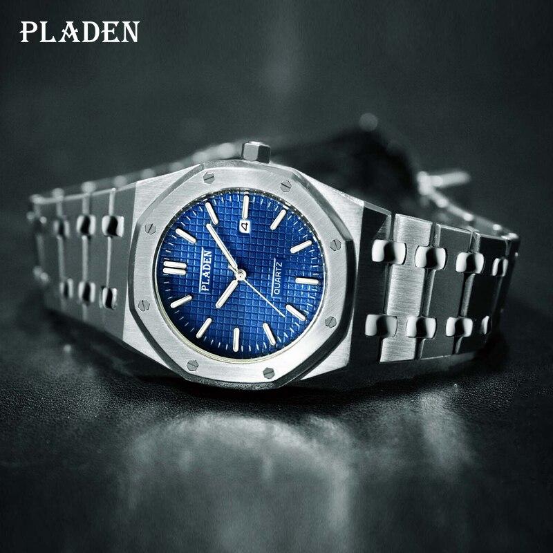 Часы наручные PLADEN мужские спортивные, брендовые Роскошные водонепроницаемые стильные деловые из нержавеющей стали, 2021