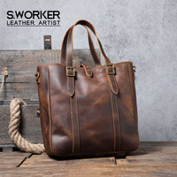 S.WORKER 2020 NEW Vintage Genuine Leather Tote Bag Men's Large Capacity Casual Crazy Horse Cowhide Ladies Shopping Bag Laptop