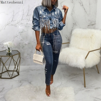 Sexy Ripped Tassel Jeans Jacket Women Oversized Crop Denim Jackets Autumn Fashion Long Sleeve Casual Slim short Bomber jacket цена 2017