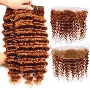 Image 5 - 정면 폐쇄와 브라질 깊은 웨이브 번들 13x4 레이스 클로저와 컬러 번들 생강 금발 레미 인간의 머리카락 번들