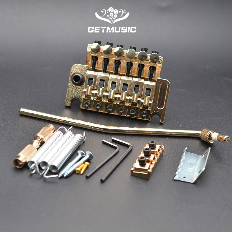 Electric Guitar Tremolo Bridge Systems with logo Double Locking Edge with Whammy Bar Black Gold Chrome Guitar Parts & Accessories    - AliExpress