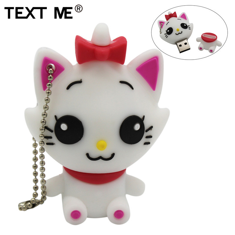 TEXT ME Cartoon Cute Withe Cat Usb Flash Drive  4GB 8GB 16GB 32GB Pendrive U Disk Usb 64GB 2.0 Gift For Girl Love