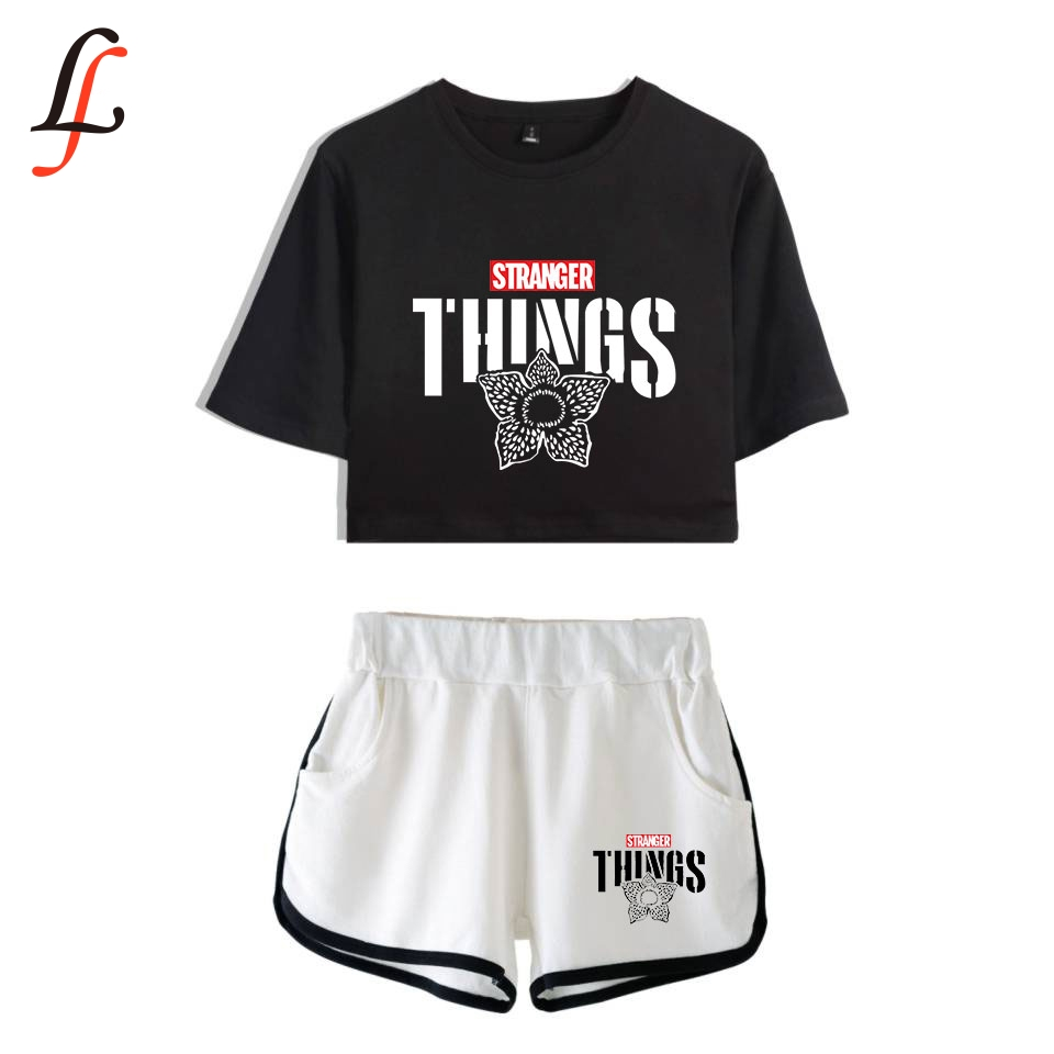 Strange Story 2019 New Modis Hot Sexy Two Piece Sets Soft T-shirt And Elastic Shorts Kpop Harajuku New Fashion Style Tops XS-XXL