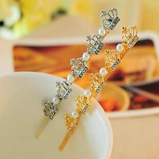 Nuevo coreano imitación perla cristal corona palabra Clip tocado chica boda mejor regalo Clip accesorios para el cabello venta al por mayor