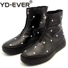 Winter Designer Weiß Polka Dot Stickerei Runway Stiefeletten Männer Zipper Hohe Kappe Punk Dicken Plattform Männlichen Natur Leder Schuhe(China)