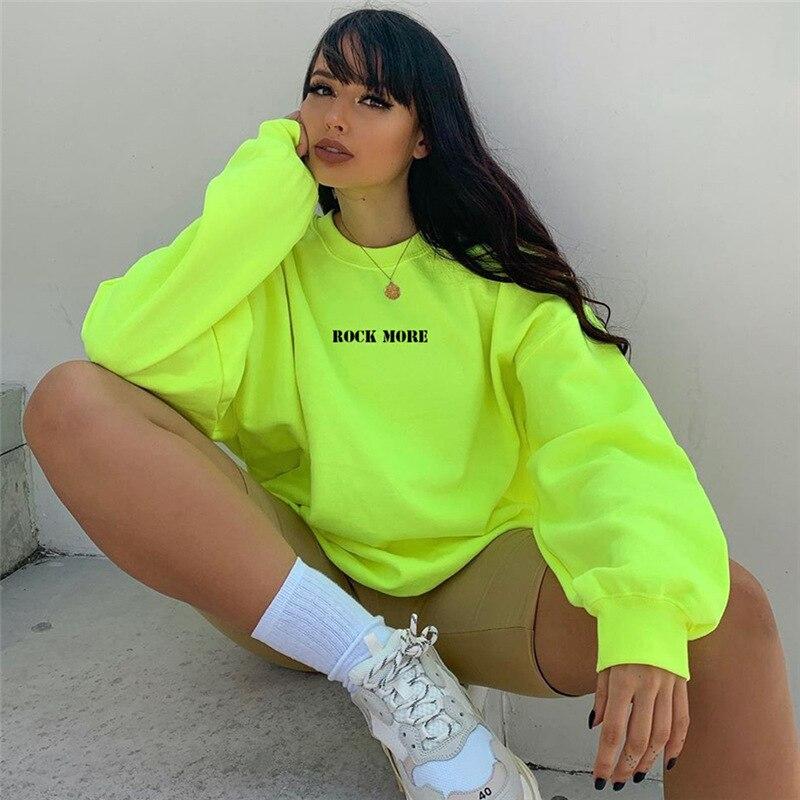 Letter Print Hoodie Pullover Women Fashion Sports Sweatshirt Casual Green Hoodies Streetwear Gothic Sweatshirt Female Hooded Top