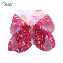 Oaoleer Hair Accessories 7 Inch Jumbo Bows for Girls Cake Print Hairgrips with Rhinestone Bowknot Handmade Ribbon Headwear