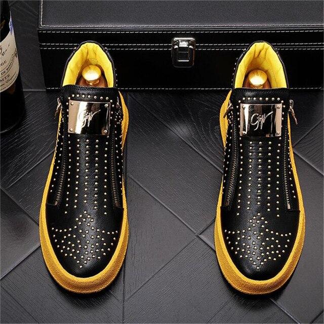 Zapatillas de deporte de diseñador de lujo para Hombre, zapatos informales estilo Punk, Hip Hop, botas altas planas de cuero con cremallera, botines 4