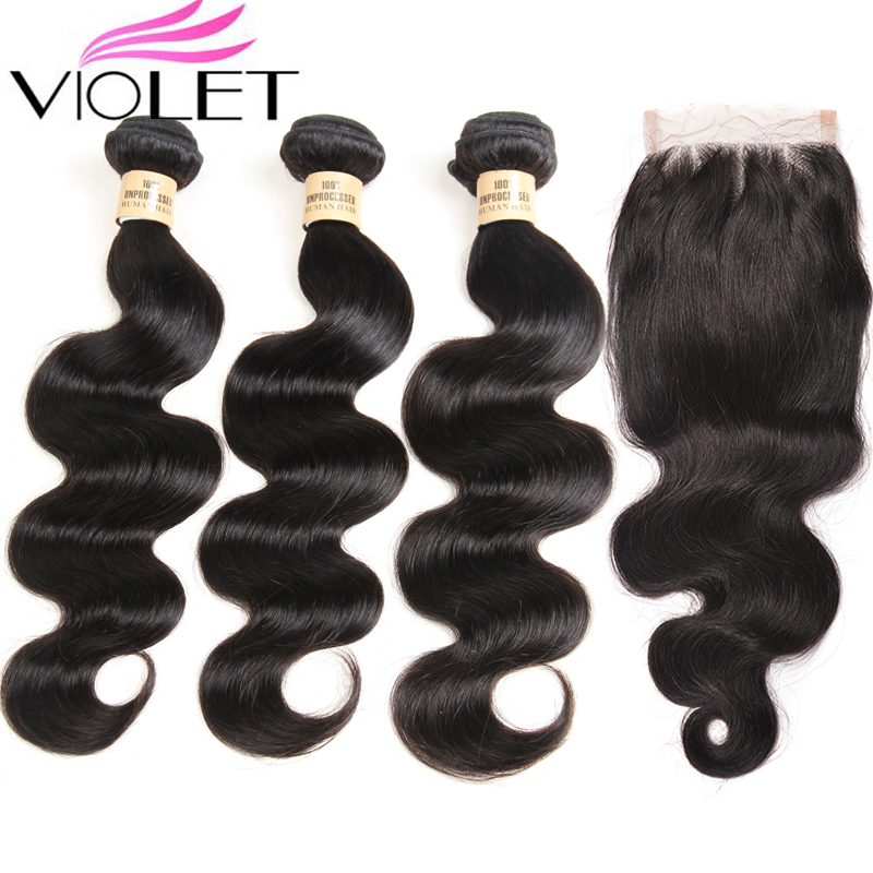VIOLET Brazilian Body Wave 3 Bundles With 4x4 Closure 100 Human Hair Bundles With Lace Closure