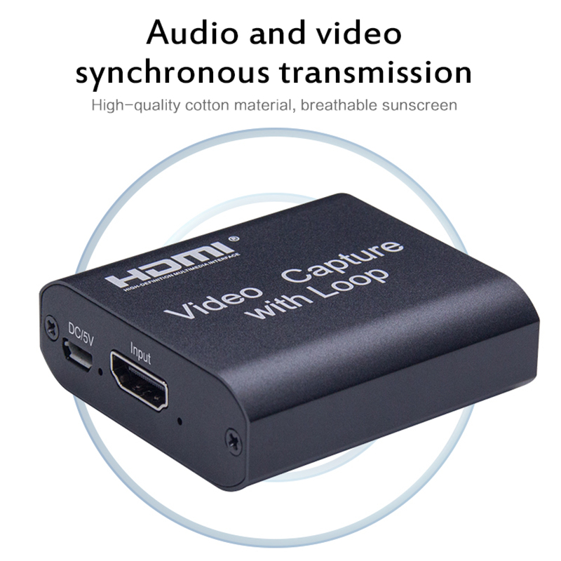 New Loop out Audio Video Capture Device HDMI Capture <font><b>Card</b></font> 4K 1080P <font><b>USB</b></font> 2.0 Game Record Live Streaming Box for PS4 DVD Camera image