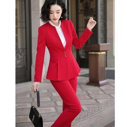 Rüschen Pant Anzug Frauen Elegante S-5XL Büro Dame OL Schwarz Rot Arbeit Jacke Blazer Mantel Und Hose 2 Stück Anzug set