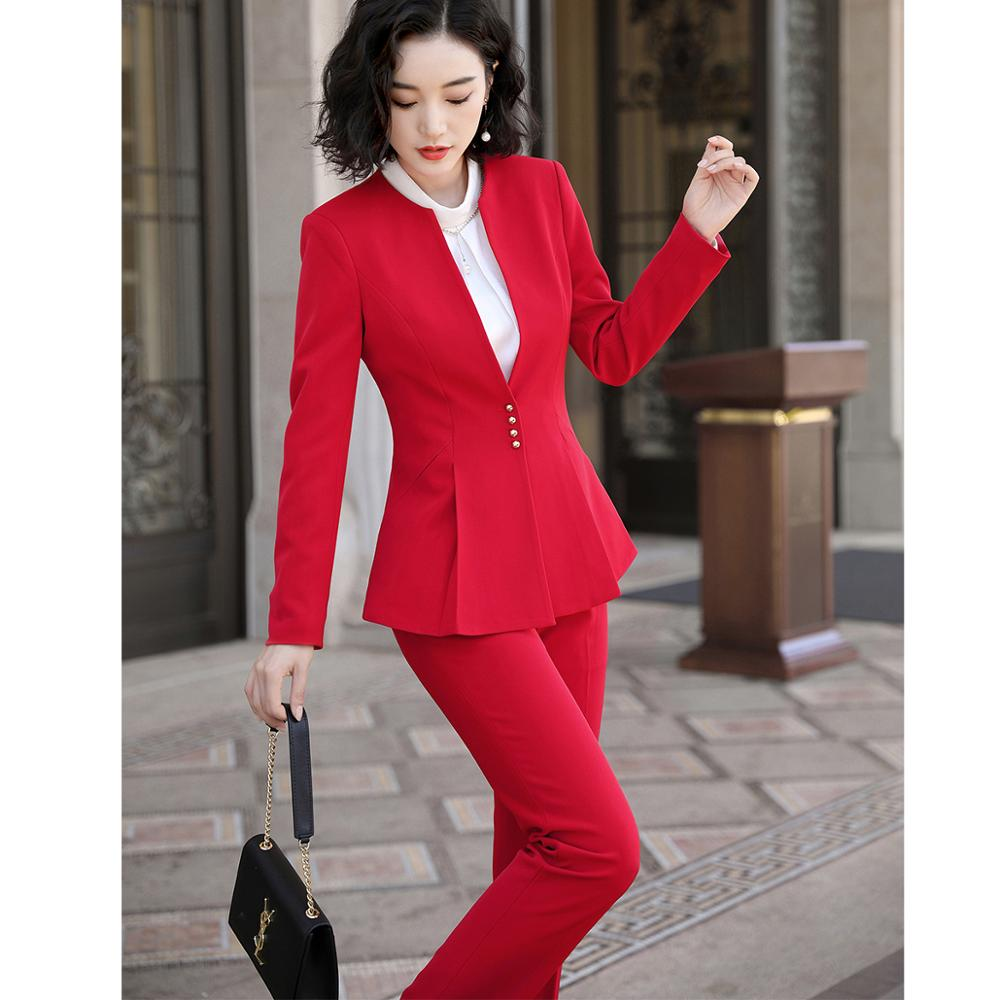Ruffle Pant Suit Women Elegant S-5XL Office Lady OL Black Red Work Jacket Blazer Coat And Pant 2 Piece Suit Set