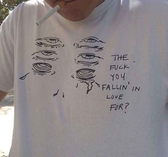 Fallin' In Liefde Voor Print Mannen Streetwear Grafische Tees Mannen Korte Mouw Ronde Hals Witte T-shirts Grappig Tops Harajuku esthetische