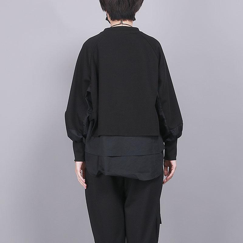 [EAM] Loose Fit Black Split Joint Big Size Sweatshirt New Round Neck Long Sleeve Women Big Size Fashion Tide Spring 2020 1R856 6