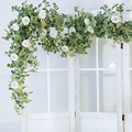 Party Joy 2M Artificial Flowers Plants Fake Eucalyptus Vine Garland Hanging for Wedding Home Office Party Garden Craft Art Decor