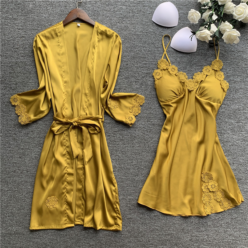 Spring New Lace Sexy Women Robe Set With Chest Pad Nightdress Cardigan Set Sleepwear