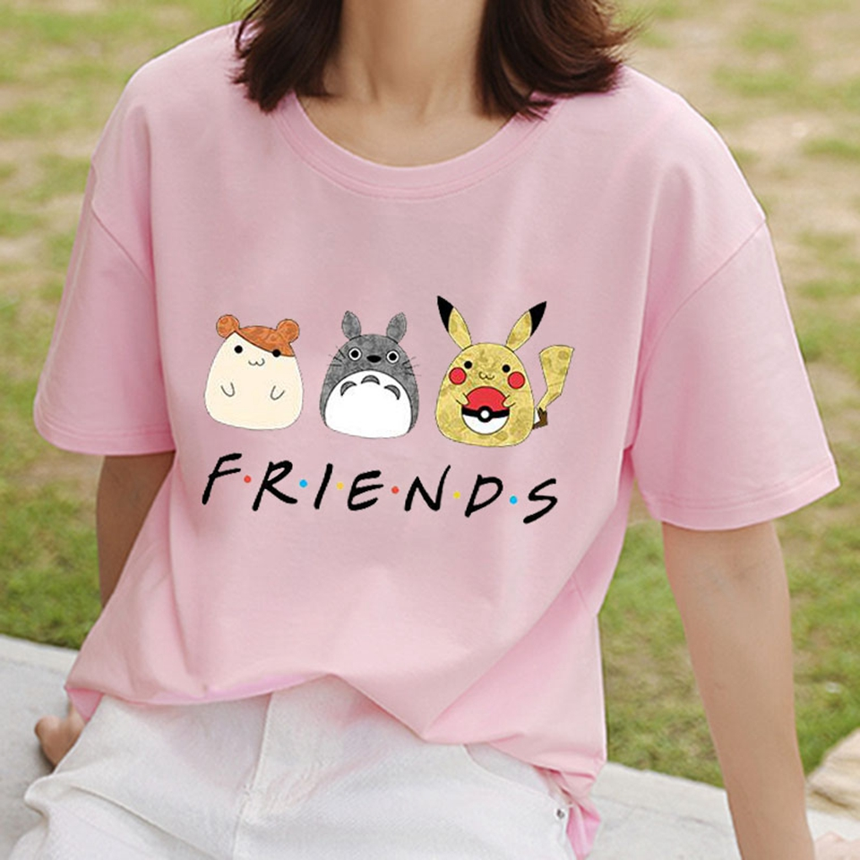 T-Shirt Women Short-Sleeve Pokemon Friends Letter Print Fashion Tshirt Female Vintage Tops Tee Summer Style T-shirt Ropa Mujer image